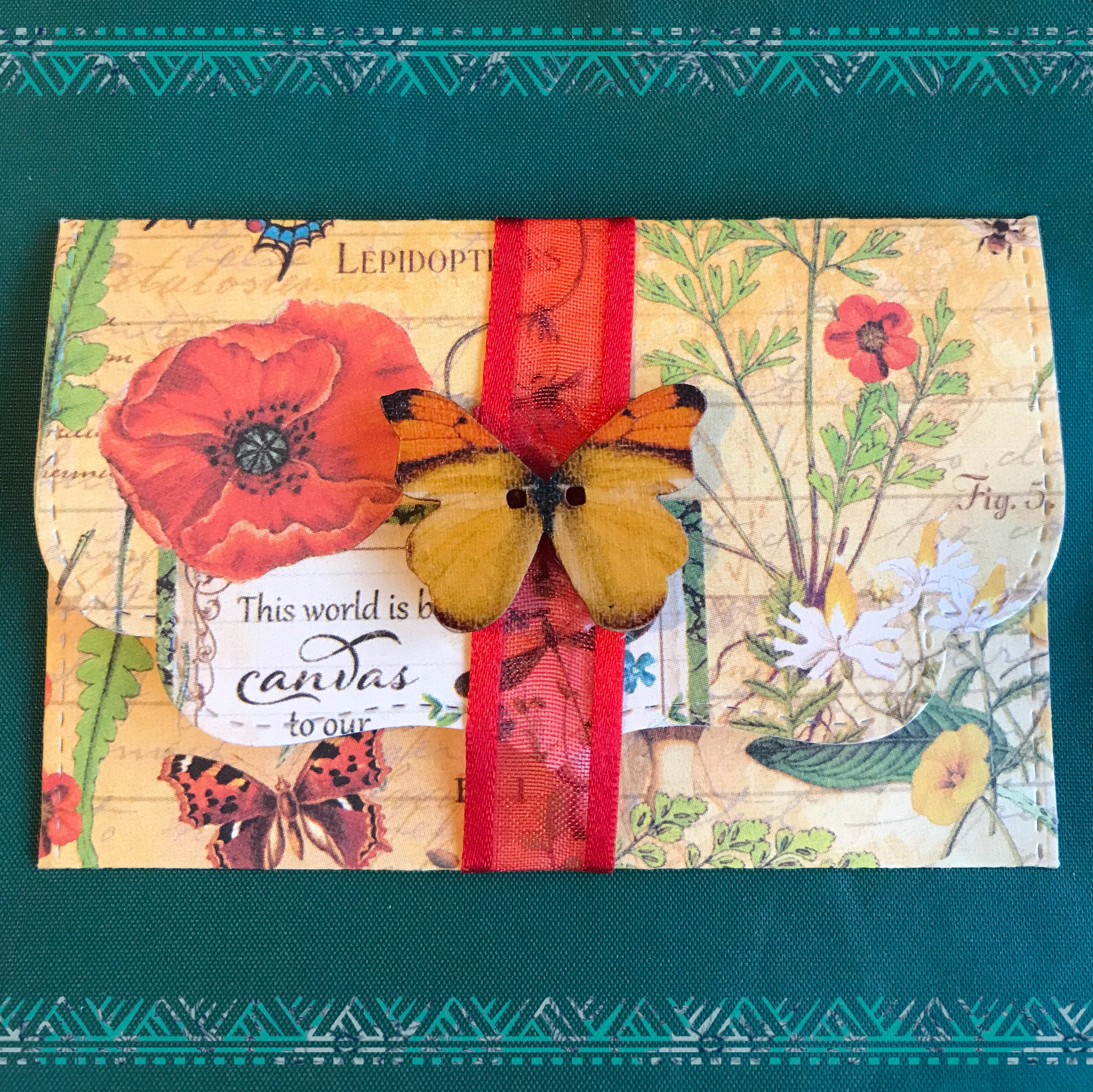 Butterfly and flower vintage gift envelope
